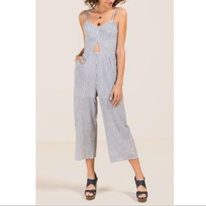 Striped Jumpsuit with Cutout
